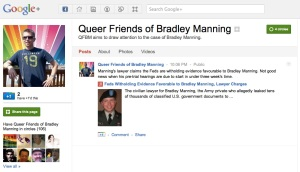 image of the Queer Friends of Bradley Manning page on Google Plus